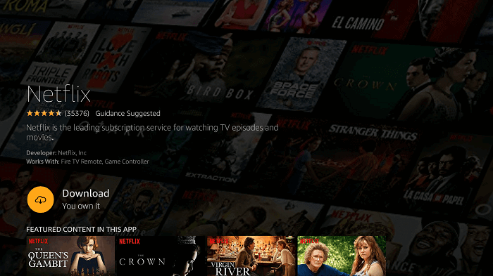 click download to install netflix to watch squid game on firestick