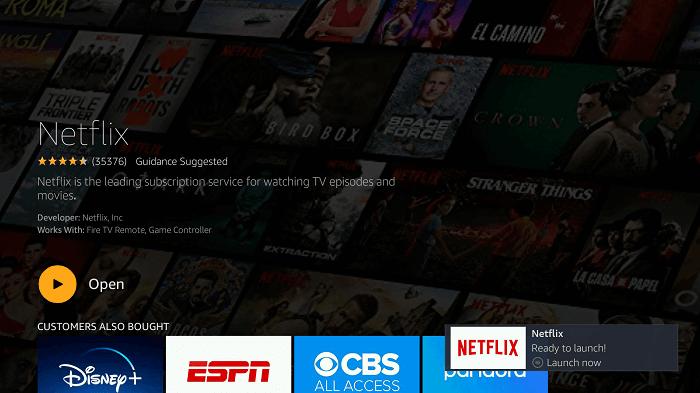 click open to launch Netflix app