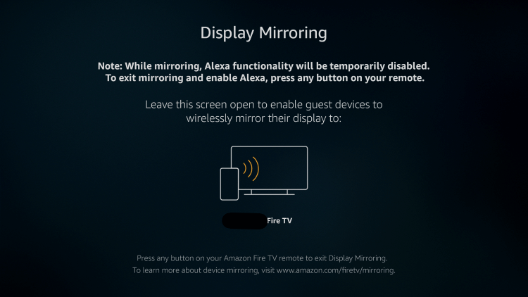 you will get display mirroring screen on the device